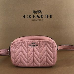 Coach quilted leather belt bum  bag dusty pink